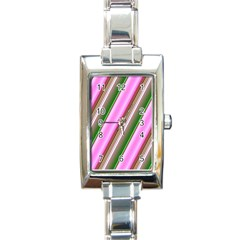 Pink And Green Abstract Pattern Background Rectangle Italian Charm Watch
