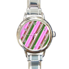 Pink And Green Abstract Pattern Background Round Italian Charm Watch