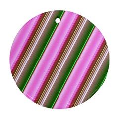Pink And Green Abstract Pattern Background Ornament (Round)