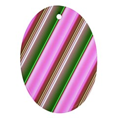 Pink And Green Abstract Pattern Background Ornament (Oval)