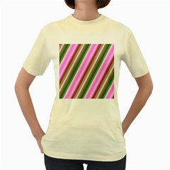 Pink And Green Abstract Pattern Background Women s Yellow T-Shirt