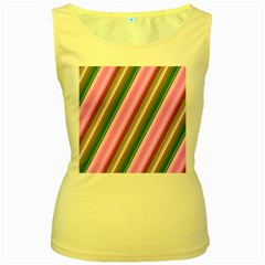 Pink And Green Abstract Pattern Background Women s Yellow Tank Top