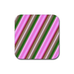 Pink And Green Abstract Pattern Background Rubber Square Coaster (4 Pack)