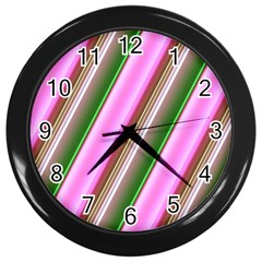 Pink And Green Abstract Pattern Background Wall Clocks (Black)