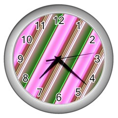 Pink And Green Abstract Pattern Background Wall Clocks (silver)