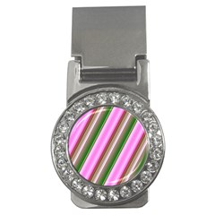 Pink And Green Abstract Pattern Background Money Clips (cz)
