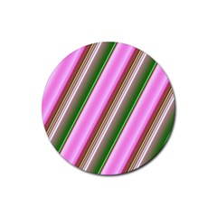 Pink And Green Abstract Pattern Background Rubber Coaster (Round)
