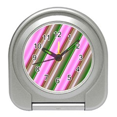 Pink And Green Abstract Pattern Background Travel Alarm Clocks