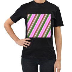 Pink And Green Abstract Pattern Background Women s T Shirt (black) (two Sided)