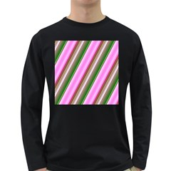 Pink And Green Abstract Pattern Background Long Sleeve Dark T-Shirts