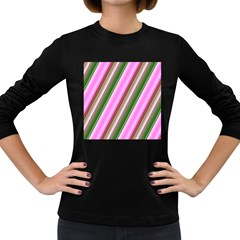 Pink And Green Abstract Pattern Background Women s Long Sleeve Dark T Shirts