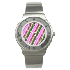 Pink And Green Abstract Pattern Background Stainless Steel Watch