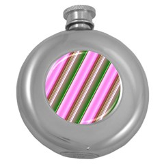 Pink And Green Abstract Pattern Background Round Hip Flask (5 Oz)