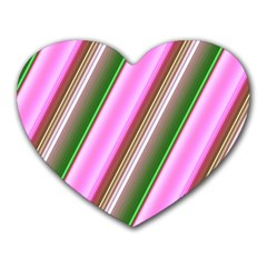 Pink And Green Abstract Pattern Background Heart Mousepads