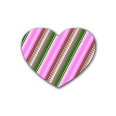 Pink And Green Abstract Pattern Background Heart Coaster (4 pack)