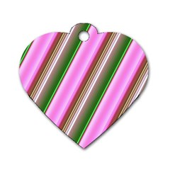 Pink And Green Abstract Pattern Background Dog Tag Heart (One Side)