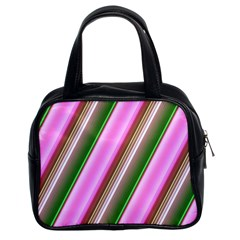 Pink And Green Abstract Pattern Background Classic Handbags (2 Sides)