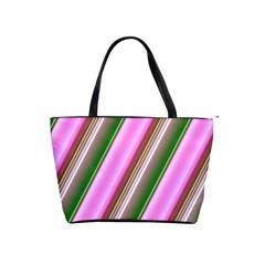 Pink And Green Abstract Pattern Background Shoulder Handbags