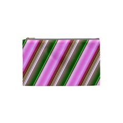 Pink And Green Abstract Pattern Background Cosmetic Bag (Small)