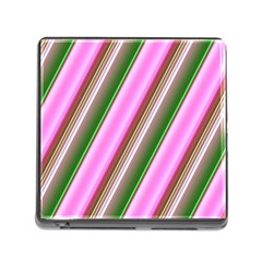 Pink And Green Abstract Pattern Background Memory Card Reader (Square)