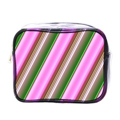 Pink And Green Abstract Pattern Background Mini Toiletries Bags