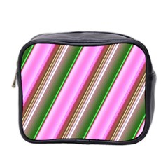 Pink And Green Abstract Pattern Background Mini Toiletries Bag 2-Side