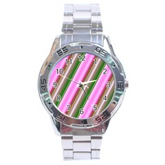 Pink And Green Abstract Pattern Background Stainless Steel Analogue Watch