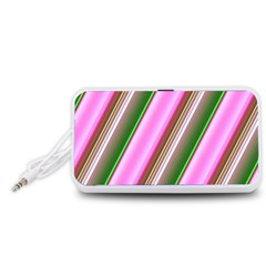 Pink And Green Abstract Pattern Background Portable Speaker (White)
