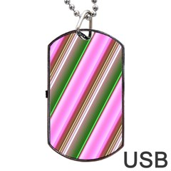 Pink And Green Abstract Pattern Background Dog Tag Usb Flash (one Side)