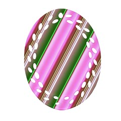 Pink And Green Abstract Pattern Background Ornament (oval Filigree)