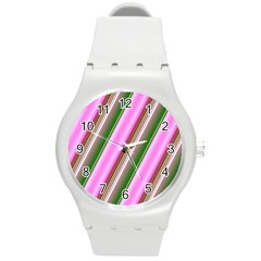Pink And Green Abstract Pattern Background Round Plastic Sport Watch (M)