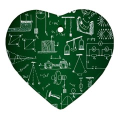 Scientific Formulas Board Green Heart Ornament (Two Sides)