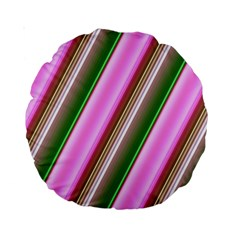 Pink And Green Abstract Pattern Background Standard 15  Premium Round Cushions