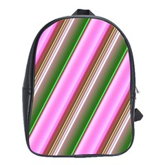 Pink And Green Abstract Pattern Background School Bags (XL)