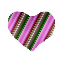Pink And Green Abstract Pattern Background Standard 16  Premium Heart Shape Cushions