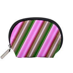 Pink And Green Abstract Pattern Background Accessory Pouches (small)