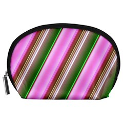 Pink And Green Abstract Pattern Background Accessory Pouches (Large)