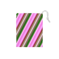 Pink And Green Abstract Pattern Background Drawstring Pouches (Small)