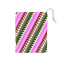 Pink And Green Abstract Pattern Background Drawstring Pouches (medium)