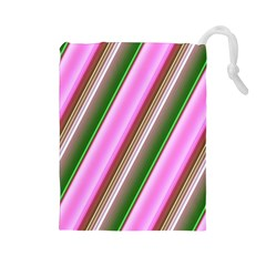 Pink And Green Abstract Pattern Background Drawstring Pouches (large)