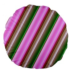 Pink And Green Abstract Pattern Background Large 18  Premium Flano Round Cushions