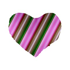 Pink And Green Abstract Pattern Background Standard 16  Premium Flano Heart Shape Cushions