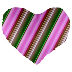 Pink And Green Abstract Pattern Background Large 19  Premium Flano Heart Shape Cushions