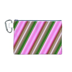 Pink And Green Abstract Pattern Background Canvas Cosmetic Bag (M)