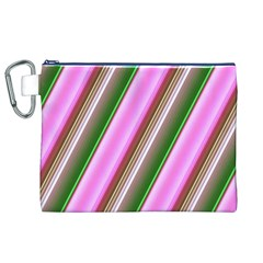 Pink And Green Abstract Pattern Background Canvas Cosmetic Bag (XL)