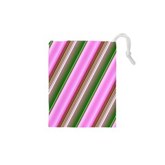 Pink And Green Abstract Pattern Background Drawstring Pouches (XS)