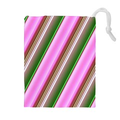Pink And Green Abstract Pattern Background Drawstring Pouches (Extra Large)