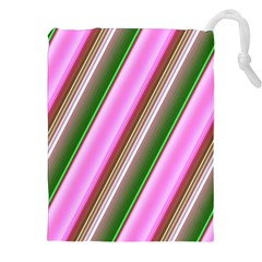 Pink And Green Abstract Pattern Background Drawstring Pouches (XXL)
