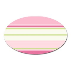 Turquoise Blue Damask Line Green Pink Red White Oval Magnet