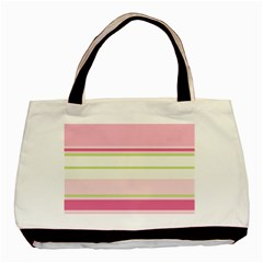 Turquoise Blue Damask Line Green Pink Red White Basic Tote Bag